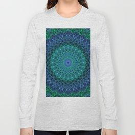 Detailed blue and neon green mandala Long Sleeve T-shirt
