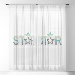 Star reward style and star text in green Sheer Curtain