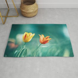Teal Orange Nature Photography, Turquoise Yellow Tulips Photo, Aqua Teal Green Flower Art Print Rug