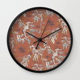 Water Swingers in Beach Sand ( leafy sea dragon pattern in coral ) Wall Clock
