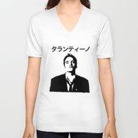 tarantino V-neck T-shirts featuring QUENTIN TARANTINO by Tia Hank