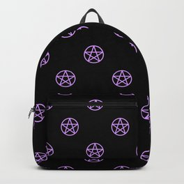 Purple Pentacle Pattern on Black Backpack