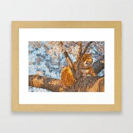 Ginger Cheshire Cat Framed Art Print