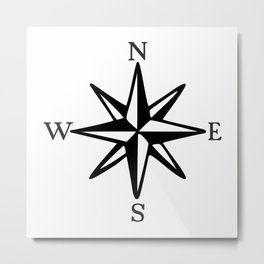 Compass Rose NOSW (Monochrome) Metal Print