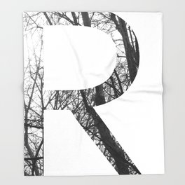 Minimal Letter R Print With Photography Background Throw Blanket