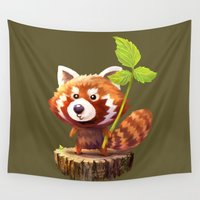 red panda Wall Tapestries featuring Red Panda by hkxdesign
