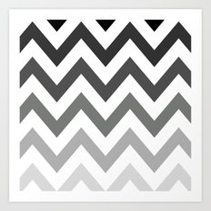 BLACK/GRAY OMBRÉ CHEVRON Art Print