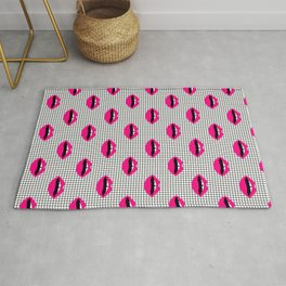 Lips minimal grid  black and white pattern cute gift for valentines day love lipstick Rug