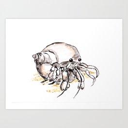 Hermit Crab Art, Watercolor and Ink Art, Marine Animal Painting, Sea Creature, Beach Art Art Print