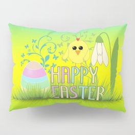 Happy Easter Egg, Chick and Snowdrop Pillow Sham