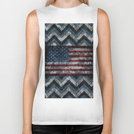 Blue Military Digital Camo Pattern with American Flag Biker Tank