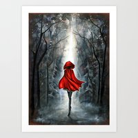 red riding hood Art Prints featuring Little Red Riding Hood by Annya Kai