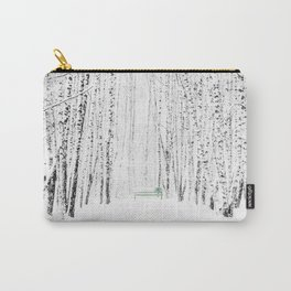 Green bench in white winter forest Carry-All Pouch