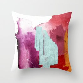 Desert Daydreams [3]: a colorful abstract mixed media piece in purple blue pinks and orange Throw Pillow