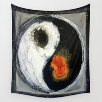 yin yang Wall Tapestries featuring Yin Yang by Liz Moran