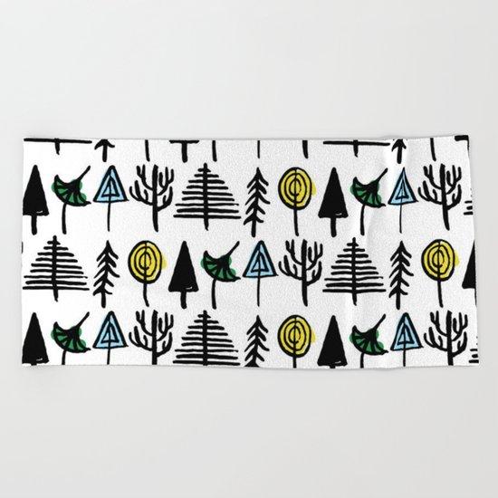 Hand drawn tree pattern Beach Towel