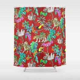 Rainforest Friends - watercolor animals on textured red Shower Curtain