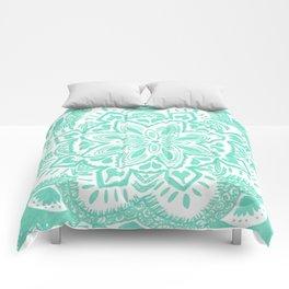 turquoise floral mandala Comforters