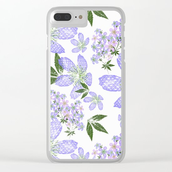 Delicate blue flowers on a white background. Clear iPhone Case