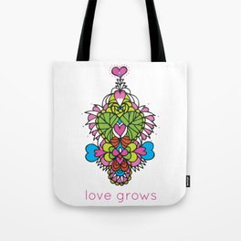 LOVE grows heart tree temple Tote Bag