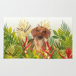 Little Dog with with Palm leaves Rug