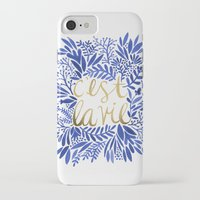 waldo iPhone & iPod Cases featuring That's Life – Gold & Blue by Cat Coquillette