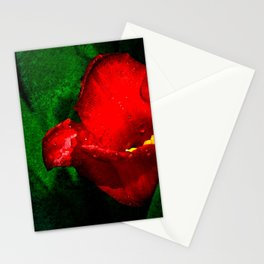 Red Tulip Green Leaves Stationery Cards