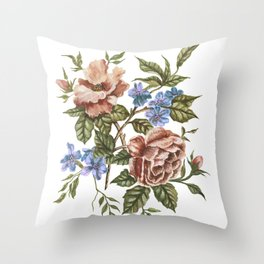 Wildflower Bouquet Watercolor Painting Throw Pillow
