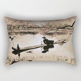 Bird Fishing Rectangular Pillow