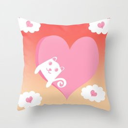 White Cat at Sunset  Throw Pillow