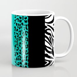 Teal Leopard and Zebra Animal Print  Coffee Mug