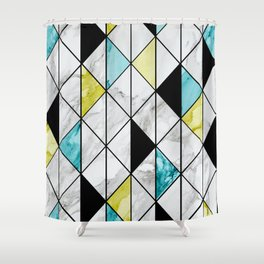 Marble Colorblocking with Yellow and Turquoise Shower Curtain