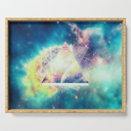 Awsome collosal deep space triangle art sign Serving Tray