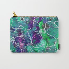 Watercolor Violet and Aqua Pansy Floral Pattern Carry-All Pouch