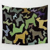 schnauzer Wall Tapestries featuring schnauzer pattern *black* by monicamarcov