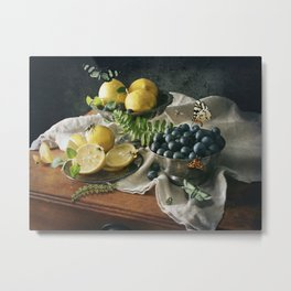 Still Life with Blueberries and Lemons Metal Print