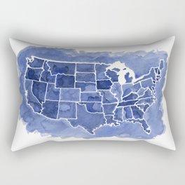 Watercolor Map of America Rectangular Pillow