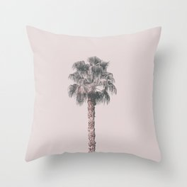 Tropical Palm Tree In Pastel Pink Light Throw Pillow