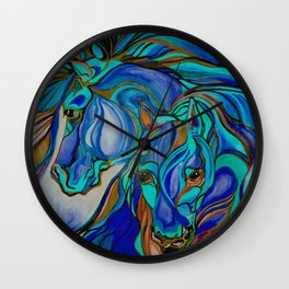 Wild Horses In Brown and Teal Wall Clock