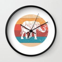 Elephant Retro Vintage 70s Boho Distressed Women Men Wall Clock