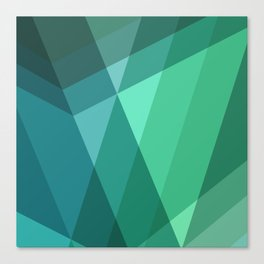 Fig. 046 Mint, Sea Green, Blue & Teal Geometric Canvas Print