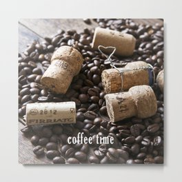 Cork & Coffee Metal Print