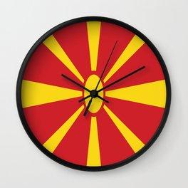 Flag of Macedonia - Macedonian,skopje,Bitola,Kumanovo,Prilep,Balkan,Alexander the great,Karagoz,red Wall Clock