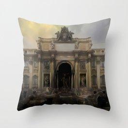 Dark Ages Trevi Fountain Throw Pillow