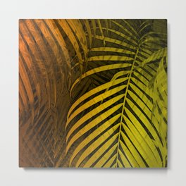 TROPICAL LEAVES GREEN MOCCA no4 Metal Print