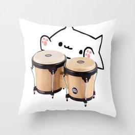 Bongo Cat Cute and funny meme Throw Pillow