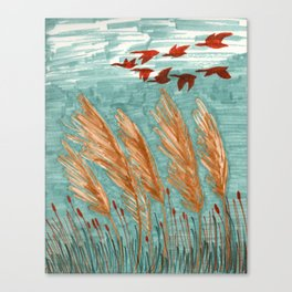 Geese Flying over Pampas Grass Canvas Print