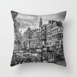 AMSTERDAM Flower Canal black & white Throw Pillow