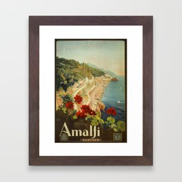 Vintage Travel Ad Amalfi Italy Framed Art Print