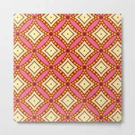 Kitschy Mid Century Pattern in Pink and Yellow Metal Print